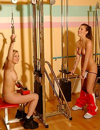 Two girls doing nude workout